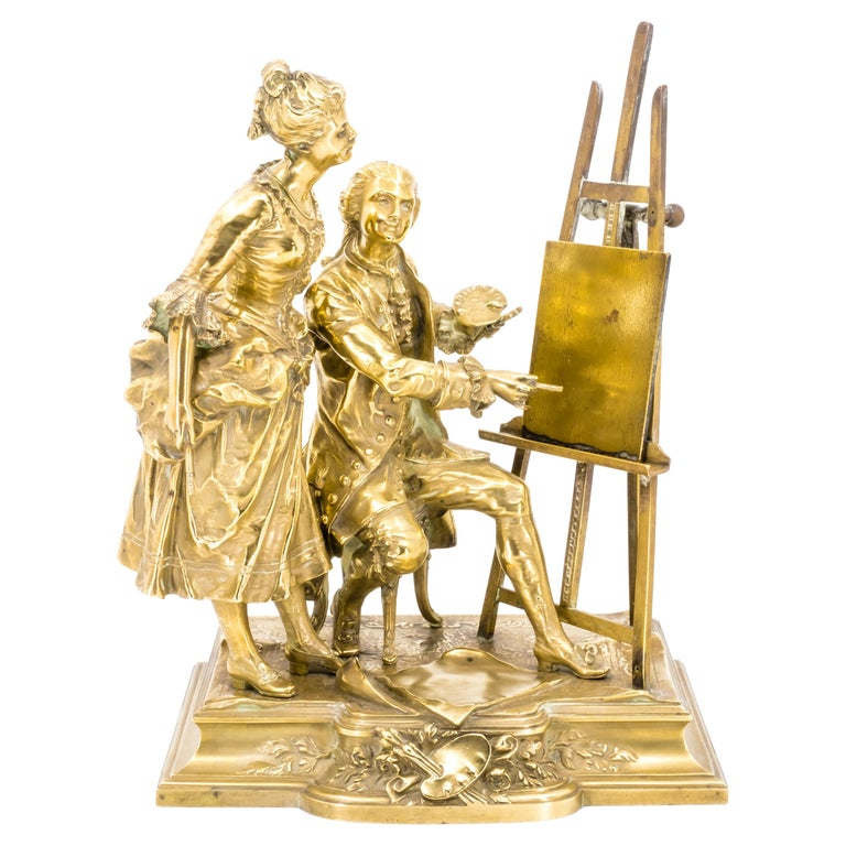 Bronze Figure Group of a Painter with a Muse, Late 19th Century For Sale