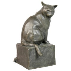 Bronze Figure of a Cat by E.M. Leary Strazzula
