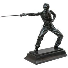 Bronze Figure of a Fencer, Artist Signed, German, Art Deco Period