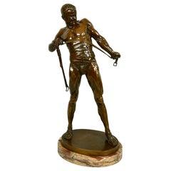 Bronze Figure of a Gladiator by Heinrich Karl Baucke 'German 1875-1915'