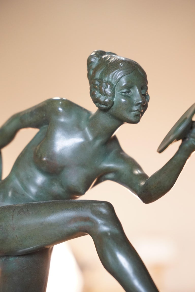 Art Deco Bronze Figure of a Nude Dancer by Lucien Charles Edouard Alliot For Sale