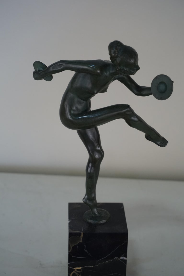 Early 20th Century Bronze Figure of a Nude Dancer by Lucien Charles Edouard Alliot For Sale