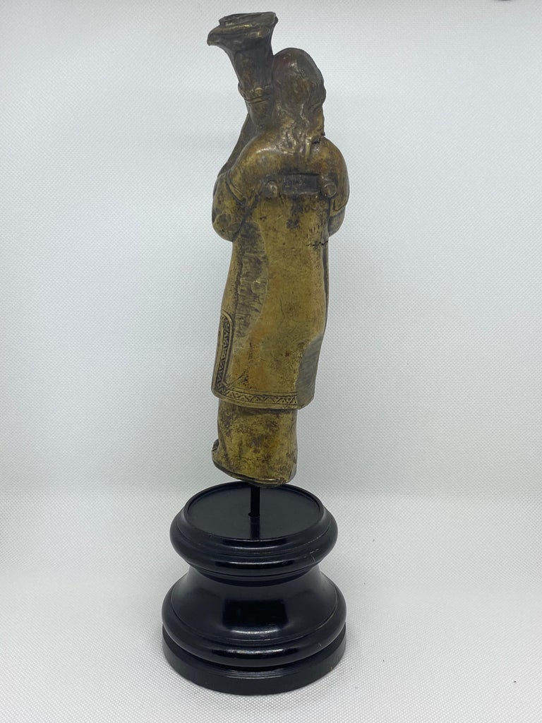 Bronze Figure of a Priest with Crozier, Italian, 18th Century In Fair Condition For Sale In Kensington, MD