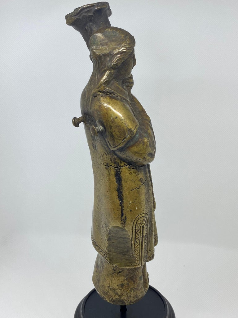 18th Century and Earlier Bronze Figure of a Priest with Crozier, Italian, 18th Century For Sale