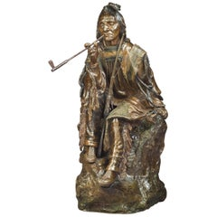 "Bronze Figure of a ""Seated Indian with Pipe"", Carl Kauba, circa 1900"