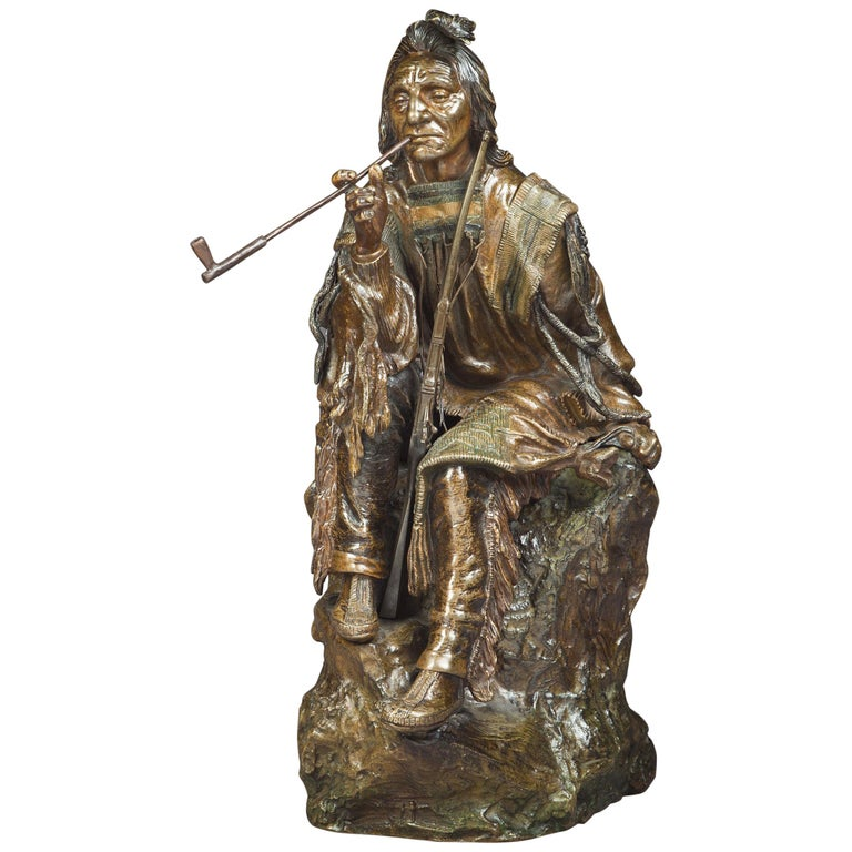 """Bronze Figure of a """"Seated Indian with Pipe"""", Carl Kauba, circa 1900 For Sale"""