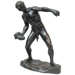 Bronze Figure of a Strongman Hurling a Rock, Artist Signed Lugerth, circa 1900