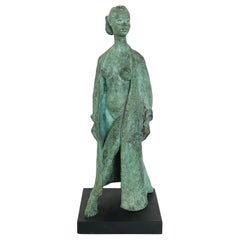 BRONZE SCULPTURAL FIGURE of a Woman in an Open Gown - 20th Century