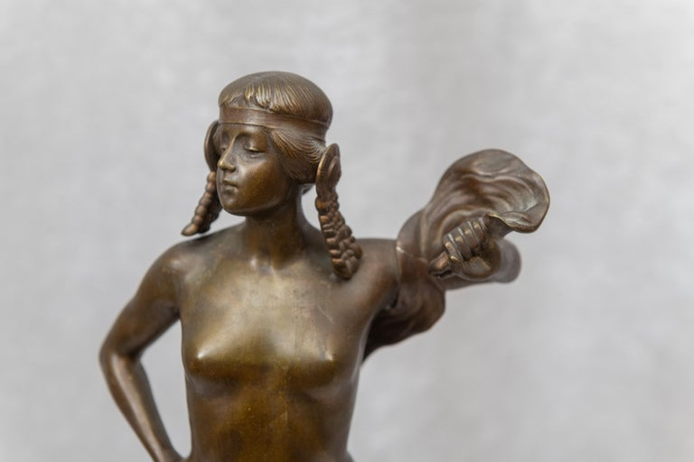 Patinated Bronze Figure of an Art Nouveau Maiden Artist Signed