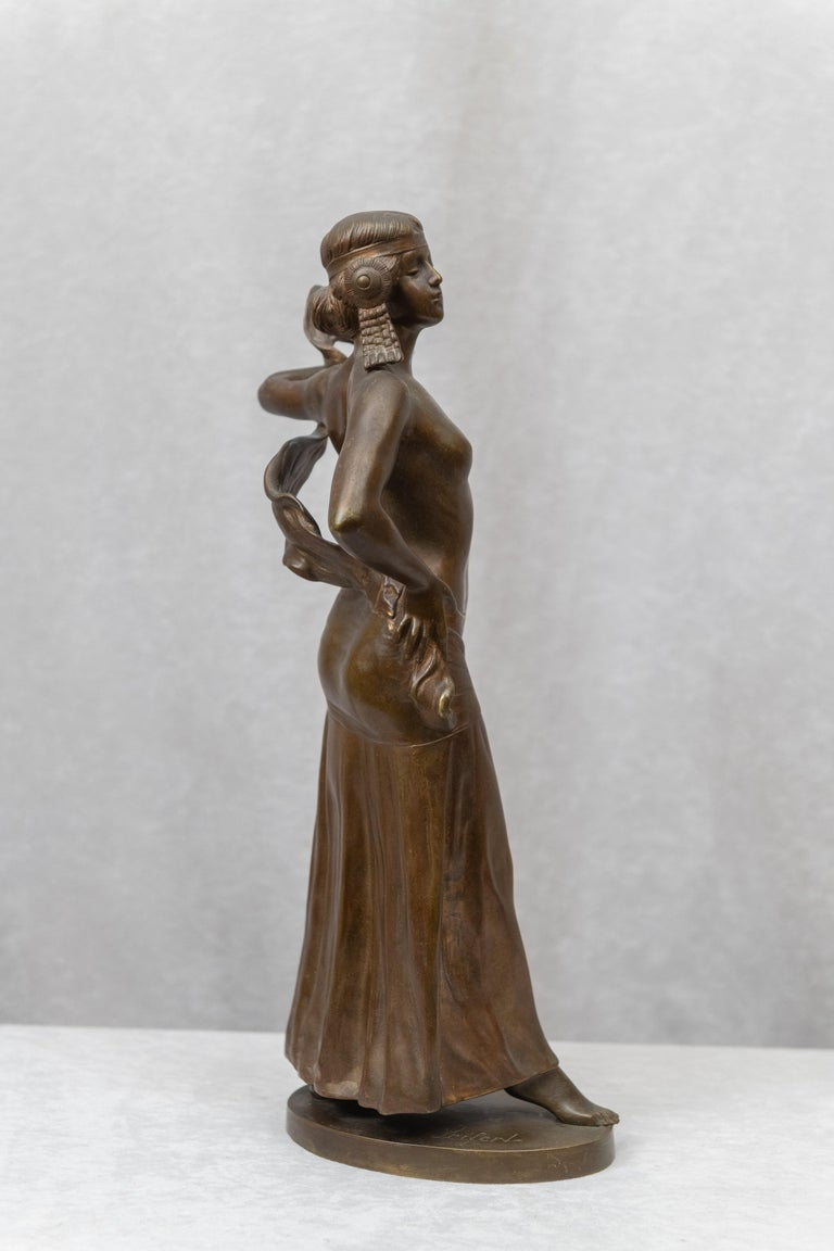 Bronze Figure of an Art Nouveau Maiden Artist Signed