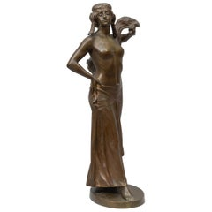 "Bronze Figure of an Art Nouveau Maiden Artist Signed ""Seifert"" German circa 1900"