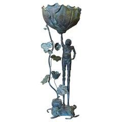 Bronze Figure of Ashinaga Holding A Lotus Garden Ornament