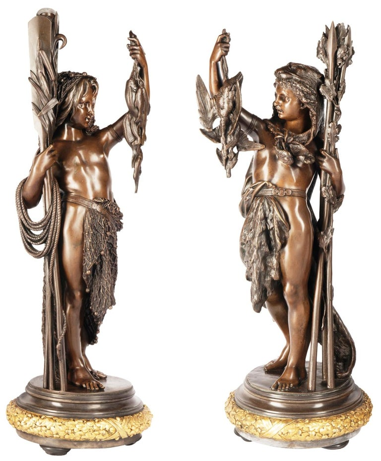 Pair very good quality 19th Century bronze figures representing boys hunting and fishing, mounted on gilded plinths, Signed; 'Carrier' Albert-Ernest Carrier-Belleuse June 12,1824 - June 3, 1887 Albert-Ernest Carrier-Belleuse French sculptor. One of