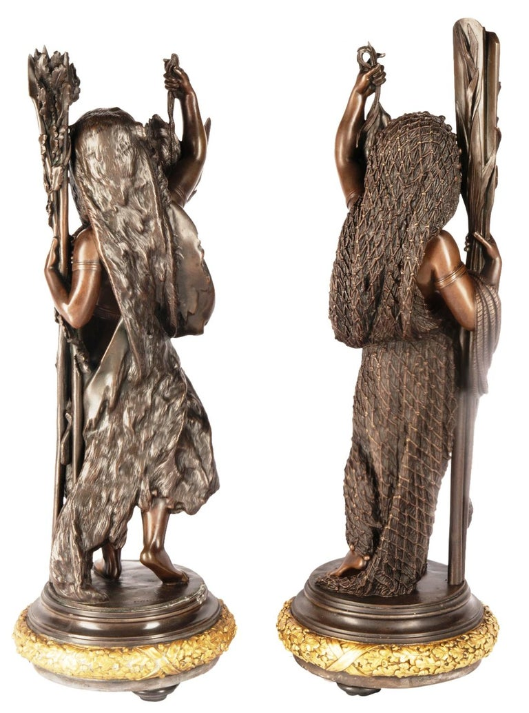 French Bronze Figures by 'Carrier' of Hunting and Fishing, 19th Century For Sale