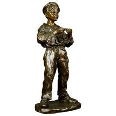 Bronze Figurine of Young Boy Rolling a Cigarette Jose Cardona 20th Century