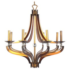 Bronze Finished and Crystal Chandelier