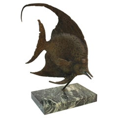 Bronze Fish Sculpture on Marble Base by G. TATE