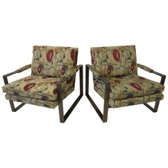 Bronze Flat Bar Milo Baughman Lounge Chairs by Thayer Coggin