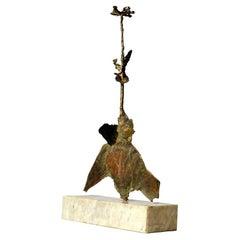Bronze Flower Sculpture on Marble Base