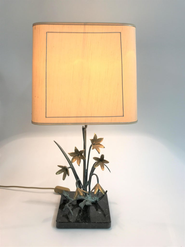 Bronze Flower Table Lamp, 1970s For Sale 3