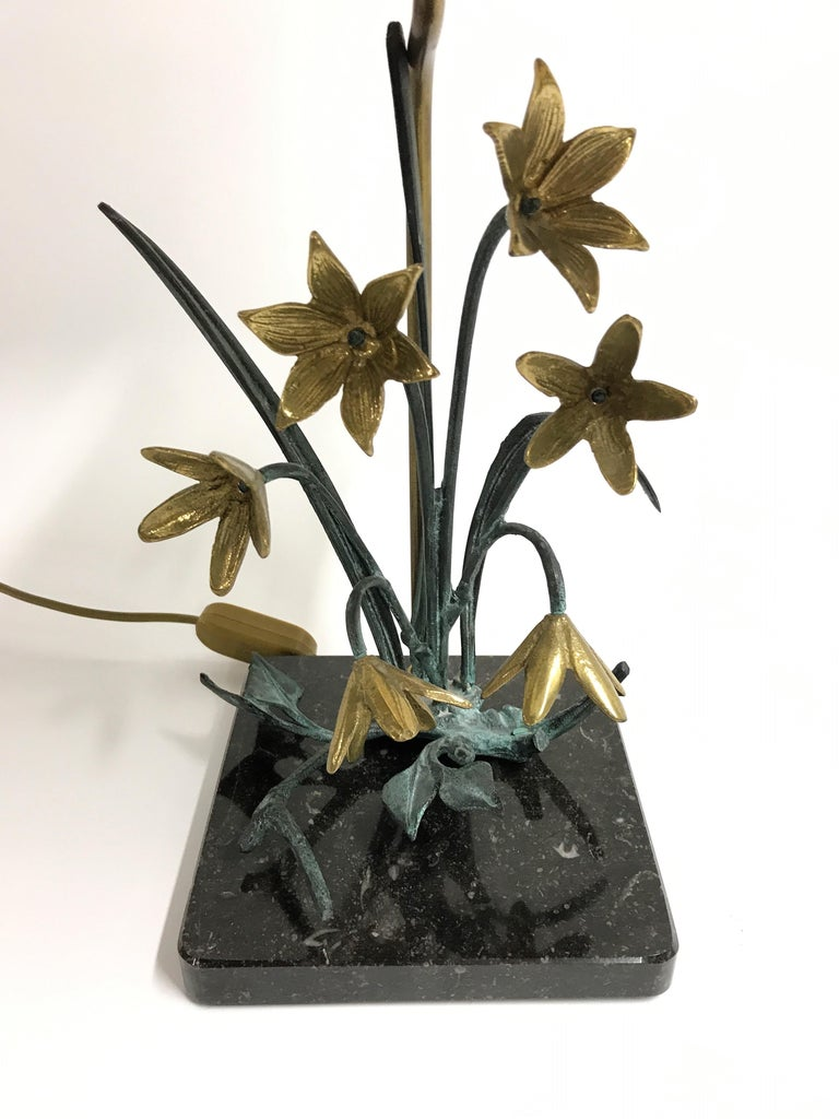 Belgian Bronze Flower Table Lamp, 1970s For Sale