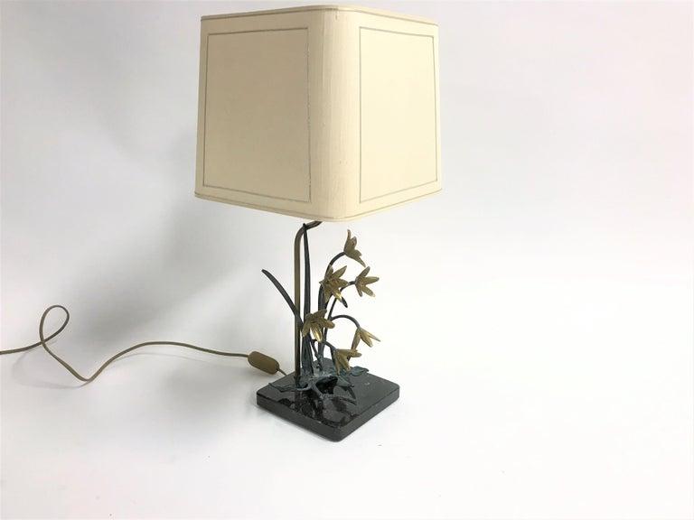 Bronze Flower Table Lamp, 1970s In Good Condition For Sale In Sint Joris Weert, BE