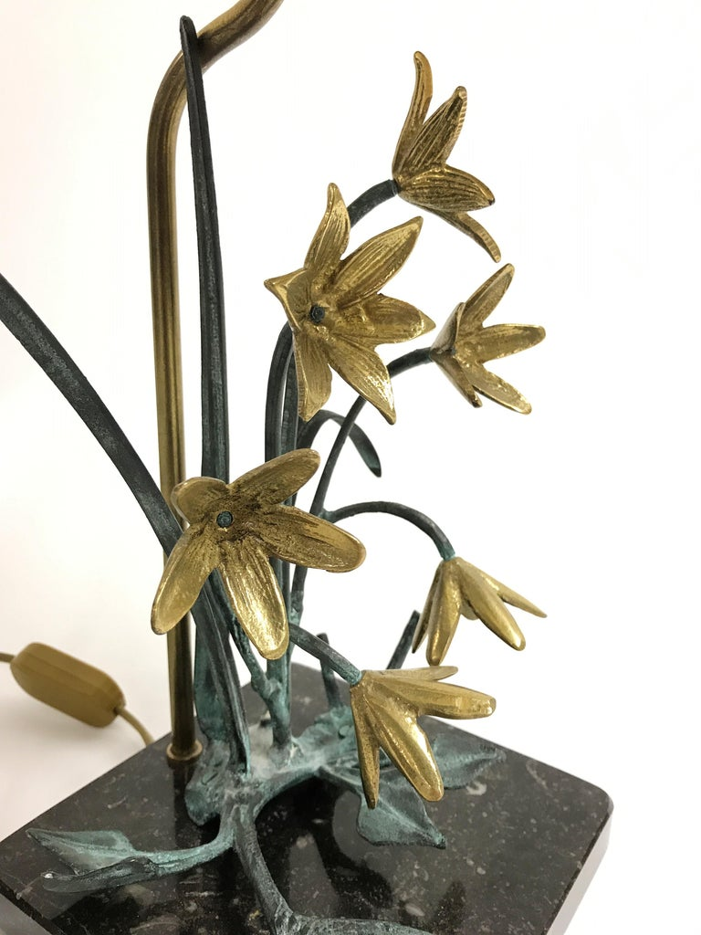 Brass Bronze Flower Table Lamp, 1970s For Sale