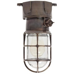 Bronze Flush Mount Industrial Light Fixture by Russell & Stoll Co.