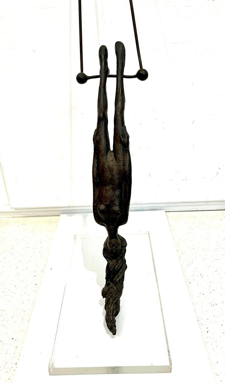 American Classical Bronze Flying Trapeze Sculpture by Listed Mexican Artist Victor Salmones For Sale