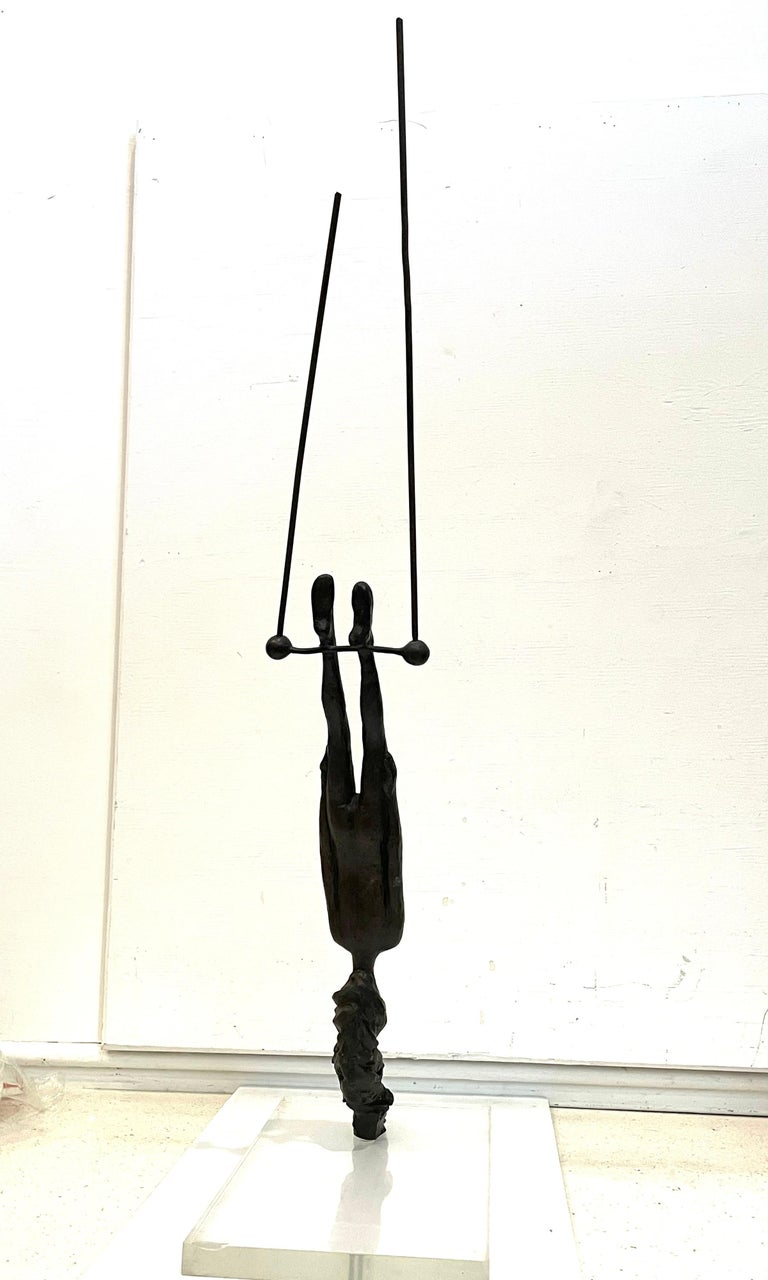 20th Century Bronze Flying Trapeze Sculpture by Listed Mexican Artist Victor Salmones For Sale