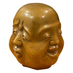 Bronze Four Faced Buddha Head Sculpture or Paperweight