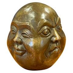 Bronze Four Faced Buddha Head Sculpture or Paperweight