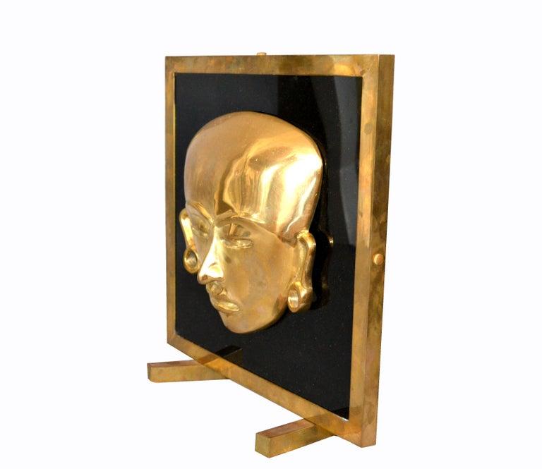 Folk Art Bronze Framed Brass African Mask on Black Glass Table Art For Sale