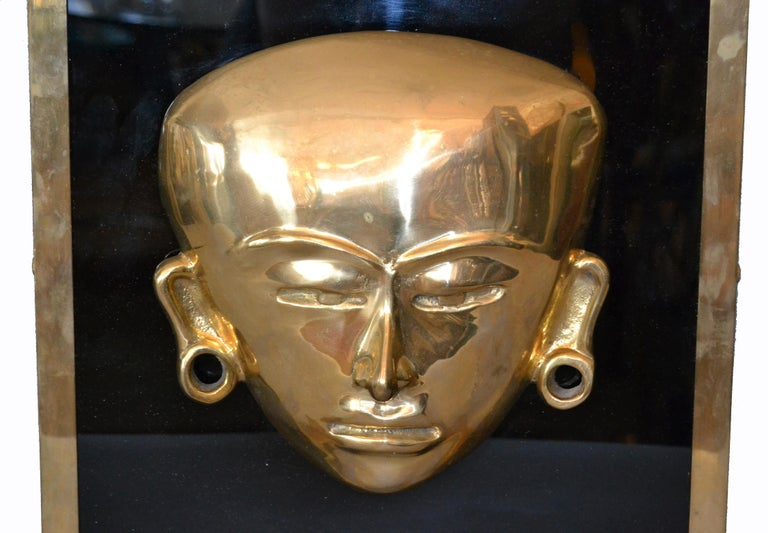 Bronze Framed Brass African Mask on Black Glass Table Art In Good Condition For Sale In North Miami, FL
