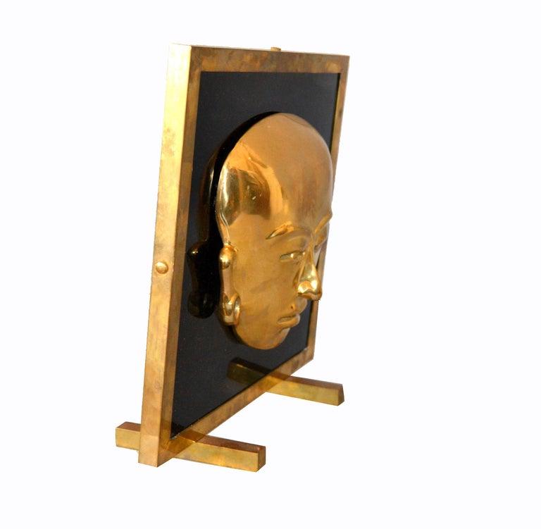 20th Century Bronze Framed Brass African Mask on Black Glass Table Art For Sale