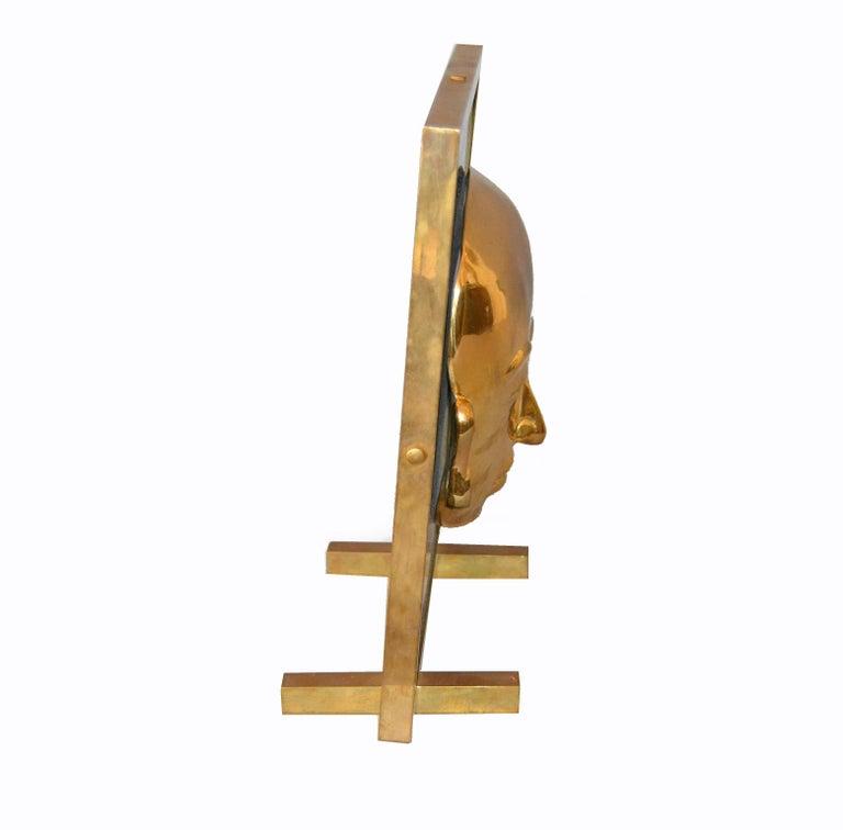 Bronze Framed Brass African Mask on Black Glass Table Art For Sale 2