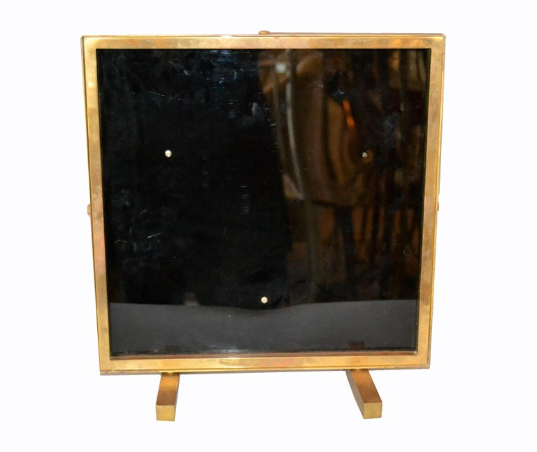 Bronze Framed Brass African Mask on Black Glass Table Art For Sale 3
