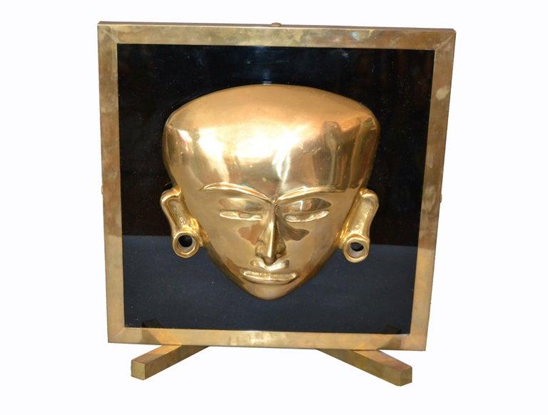 Bronze Framed Brass African Mask on Black Glass Table Art For Sale 4