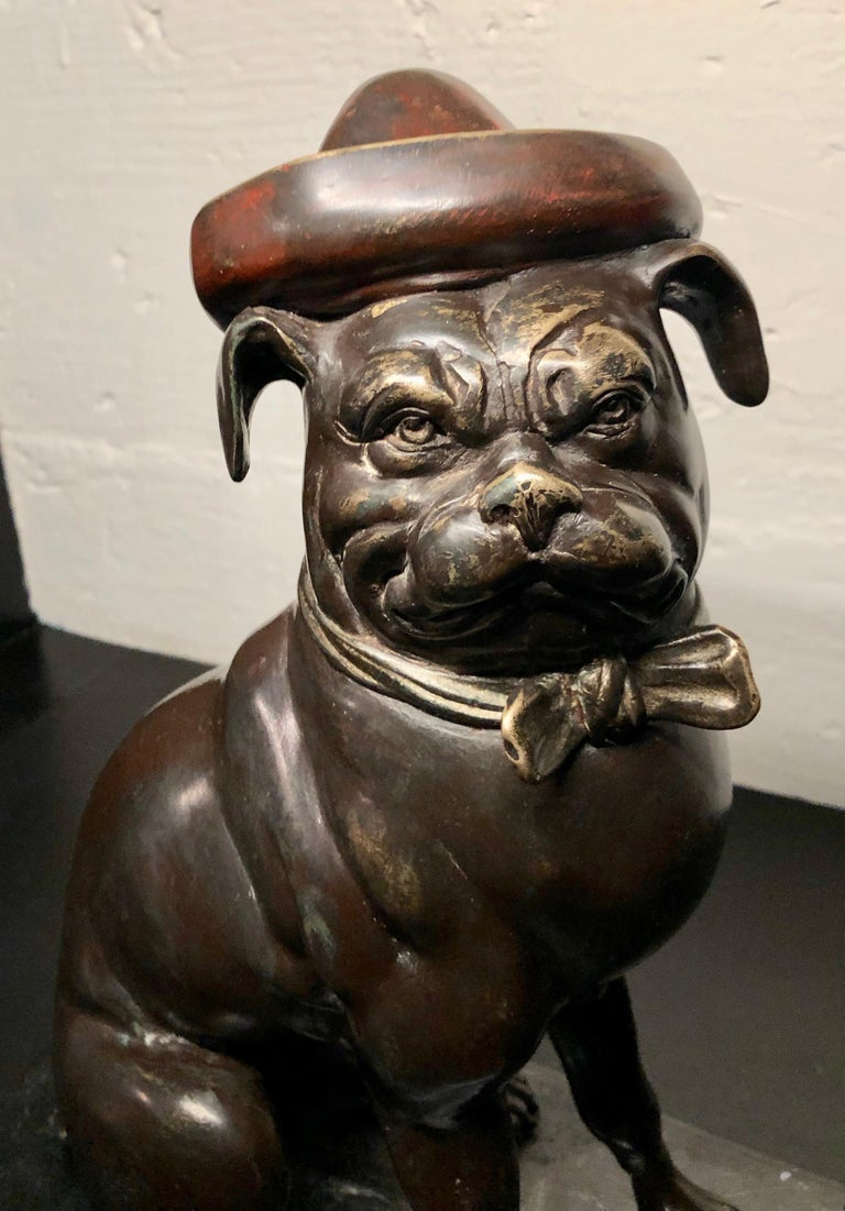 Bronze French Bull Dog Sculpture Art Deco For Sale 1
