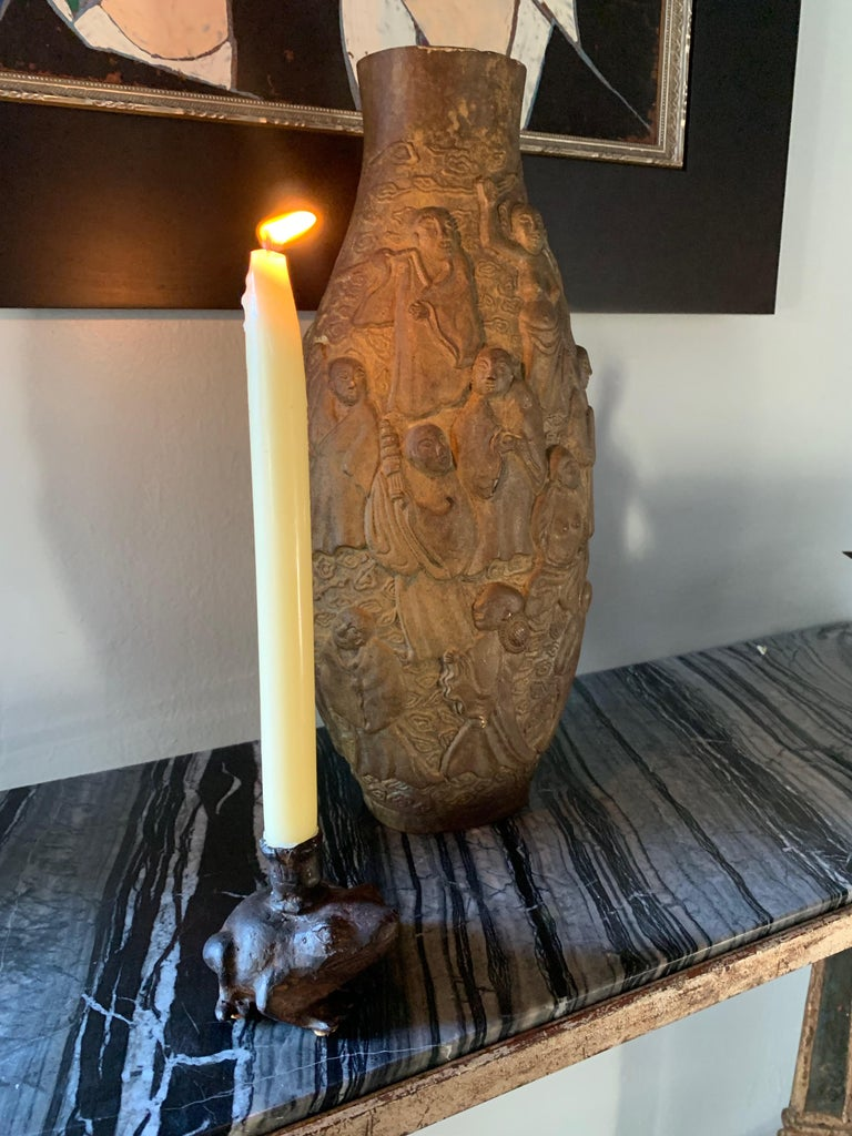20th Century Bronze Frog Candleholder For Sale