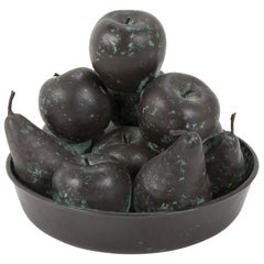 Bronze Fruit Bowl Centerpiece Signed Rhonda Roland Shearer, 1984