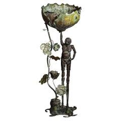 Bronze Garden Figure of Ashinaga Holding a Lotus