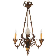 Bronze Gasolier Modeled  with a Central Flambeau Shade