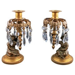 Bronze & Gilt Metal Candlesticks, 19th Century