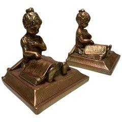 Bronze Girl Bookends, Pair