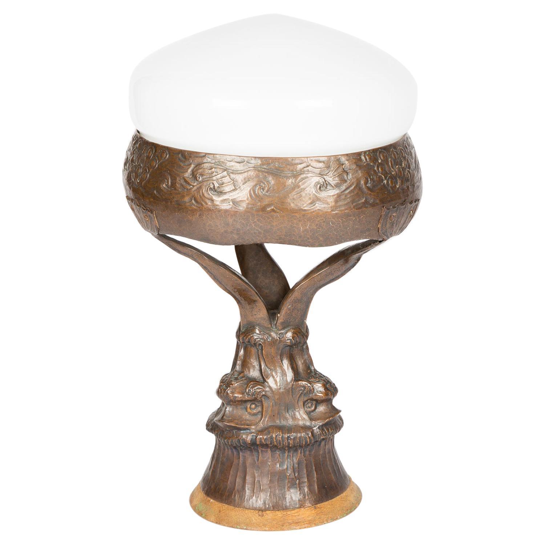 Bronze and Glass Jugenstil Table Lamp