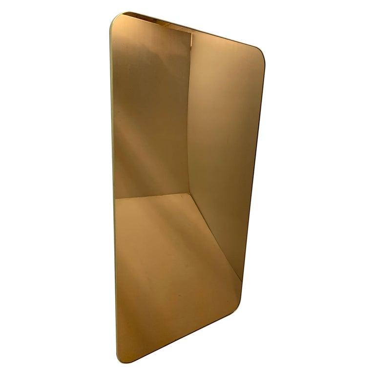 Bronze Glass Thin Framed Large Rectangular Mirror For Sale