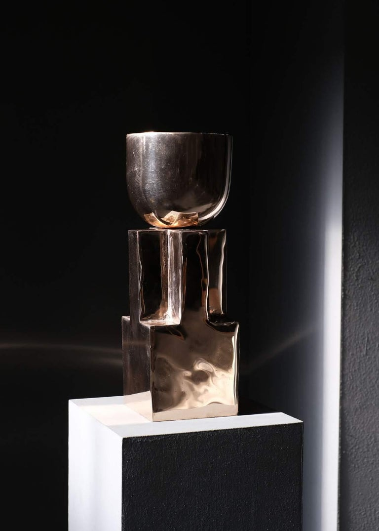 """Bronze Goblet bowl - Signed Arno Declercq Measures: 14 cm L x 14 cm W x 40 cm H 5.5"""" L x 5.5"""" W x 15.7"""" H Material: Bronze Signed by Arno Declercq  Arno Declercq Belgian designer and art dealer who makes bespoke objects with passion for"""