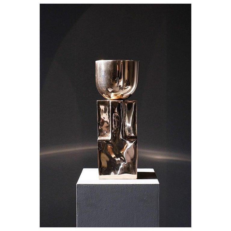 Belgian Bronze Goblet Bowl, Signed Arno Declercq For Sale