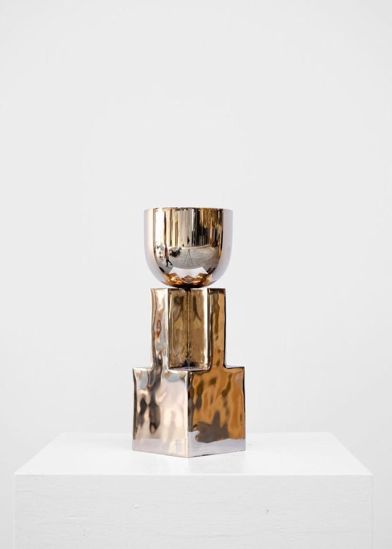 Bronze Goblet Bowl, Signed Arno Declercq In New Condition For Sale In Geneve, CH